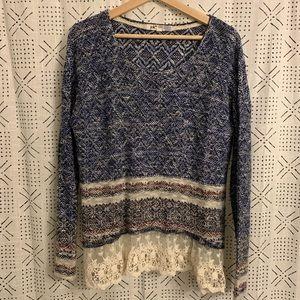 Lace Detail Stripe Sweater